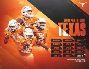 Texas Longhorns Announce 2020 Football Spring Schedule, Orange-White Game