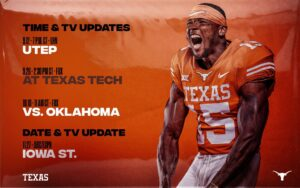 UPDATE: Kickoff Times Set for UTEP, Texas Tech, OU